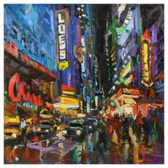 'Opening Night' Broadway NY, Modern Impressionist Oil by James P. Kerr, American