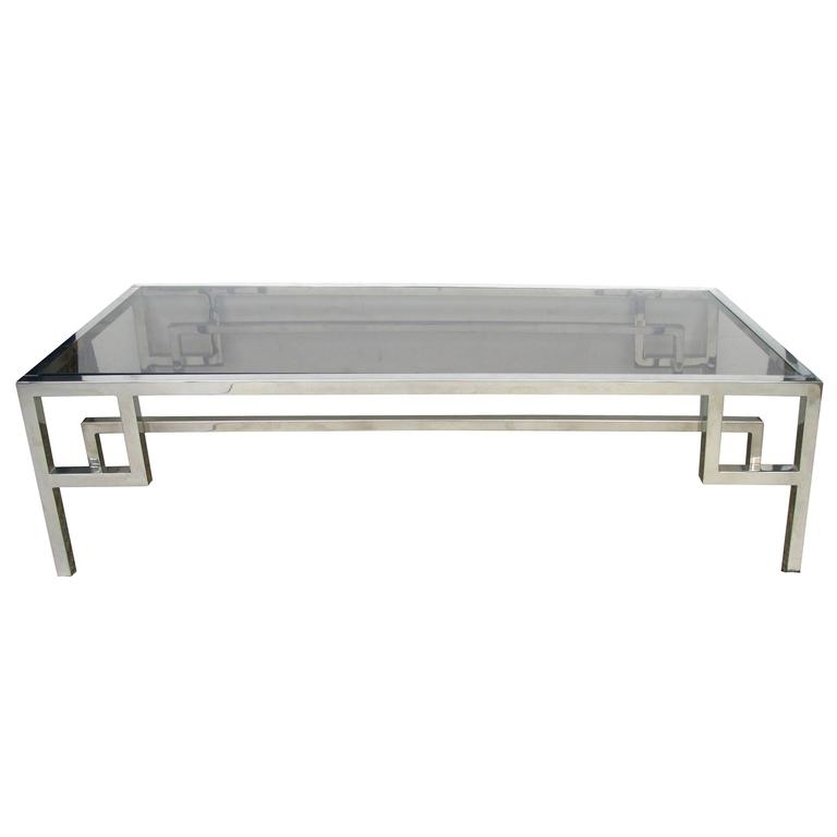 Modish French 1970s Chrome and Glass Rectangular Coffee/Cocktail Table