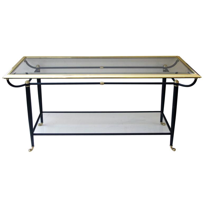 Good French 1960s Brass And Black Metal Console Table