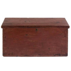 Handsome 19th Century American Painted Trunk with Lovely Worn Painted Finish