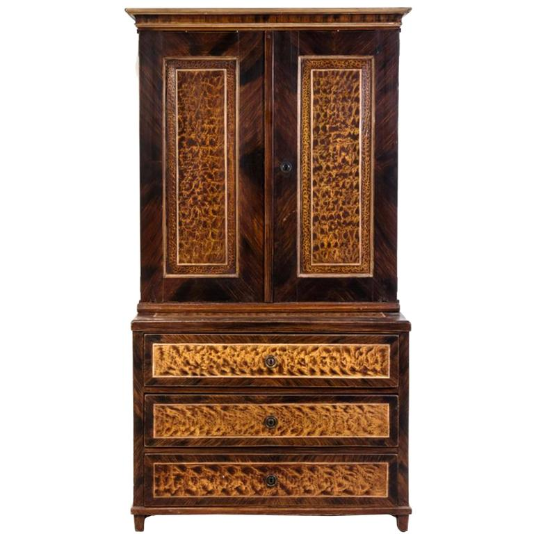 Exceptional American Faux Bois Step Back Cupboard, circa 1840 1