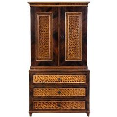 Exceptional American Faux Bois Step Back Cupboard, circa 1840