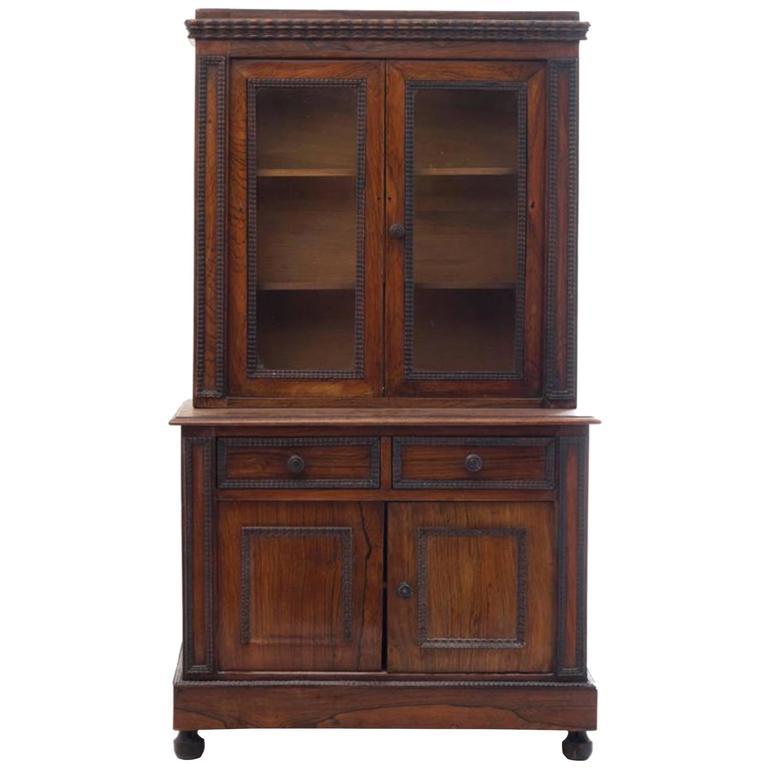 Charming Diminutive 19th Century English Rosewood Step-Back Cupboard 1