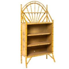 19th Century English Bamboo Bookshelf with Lovely Painted Finish