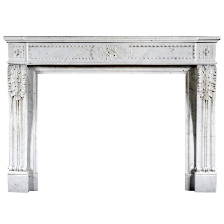 French Louis XVI Style Antique Fireplace in Carrara Marble