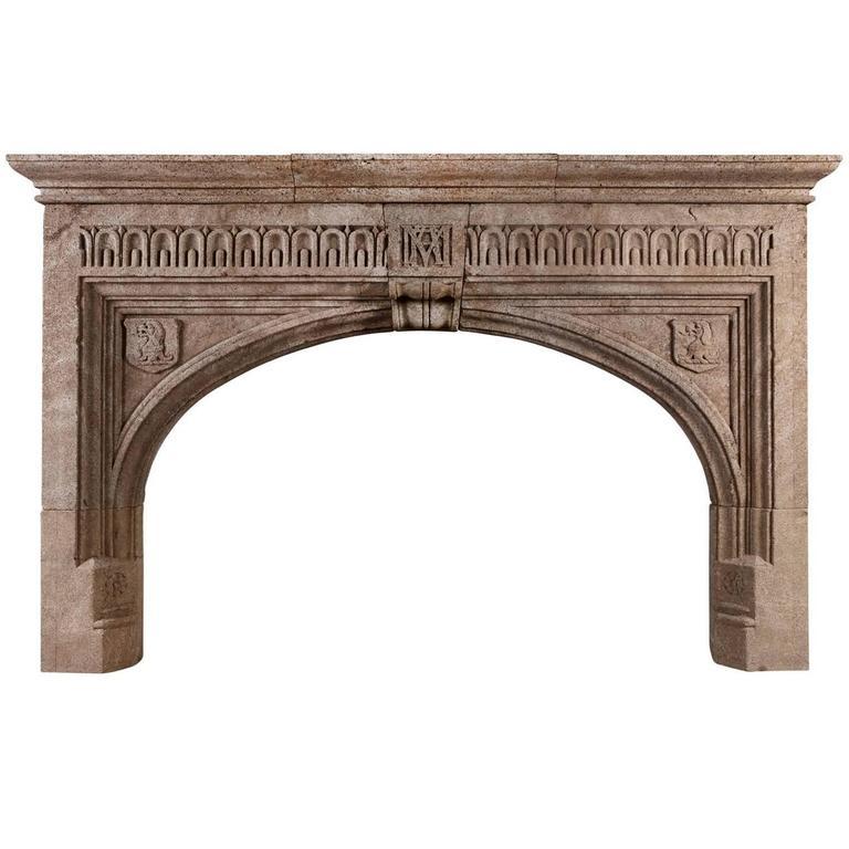 Large Gothic Hamstone Antique Fireplace
