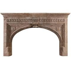 Large Gothic Hamstone Antique Fireplace