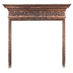 Late 18th Century Carved Pine English Fireplace