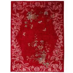 Lacquer Red Chinese Art Deco Carpet
