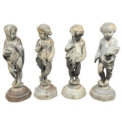 Outstanding Set of Four Lead Statues, The Four Seasons