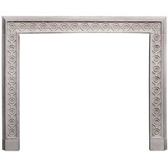 Attractive English Limestone Fireplace with Guilloche Carving