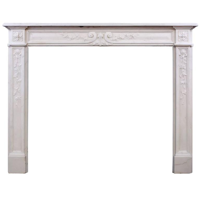 Late 18th Century Louis XVI Statuary Marble Fireplace For Sale