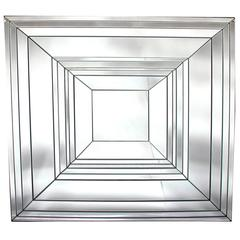 Brilliant French 1970s Square-Form Beveled Mirror