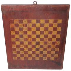 19th Century Original Red and Mustard Painted Gameboard
