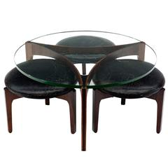 Danish Rosewood Glass Coffee Table & Three Leather Stools by Sven Ellekaer, 1962