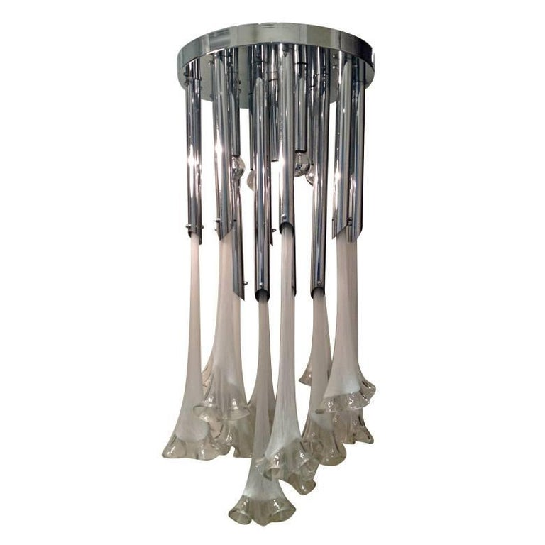 Large Murano Glass Flower Chandelier For Sale
