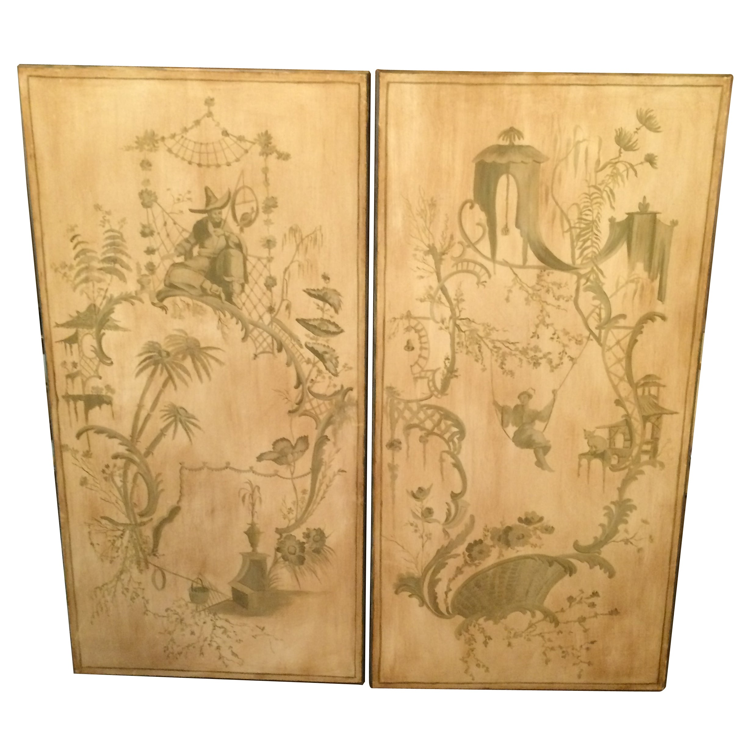 Pair of Hand-Painted Vintage Asian Panels For Sale at 1stdibs