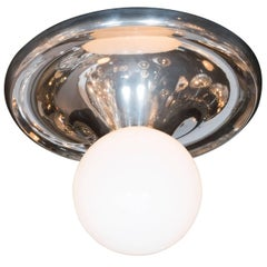 "Mid-Century White Globe ""Drop"" Flush Mount with Chrome Frame"