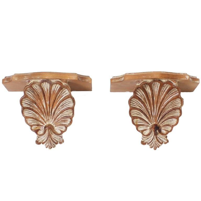 Carved Wood Seashell Brackets