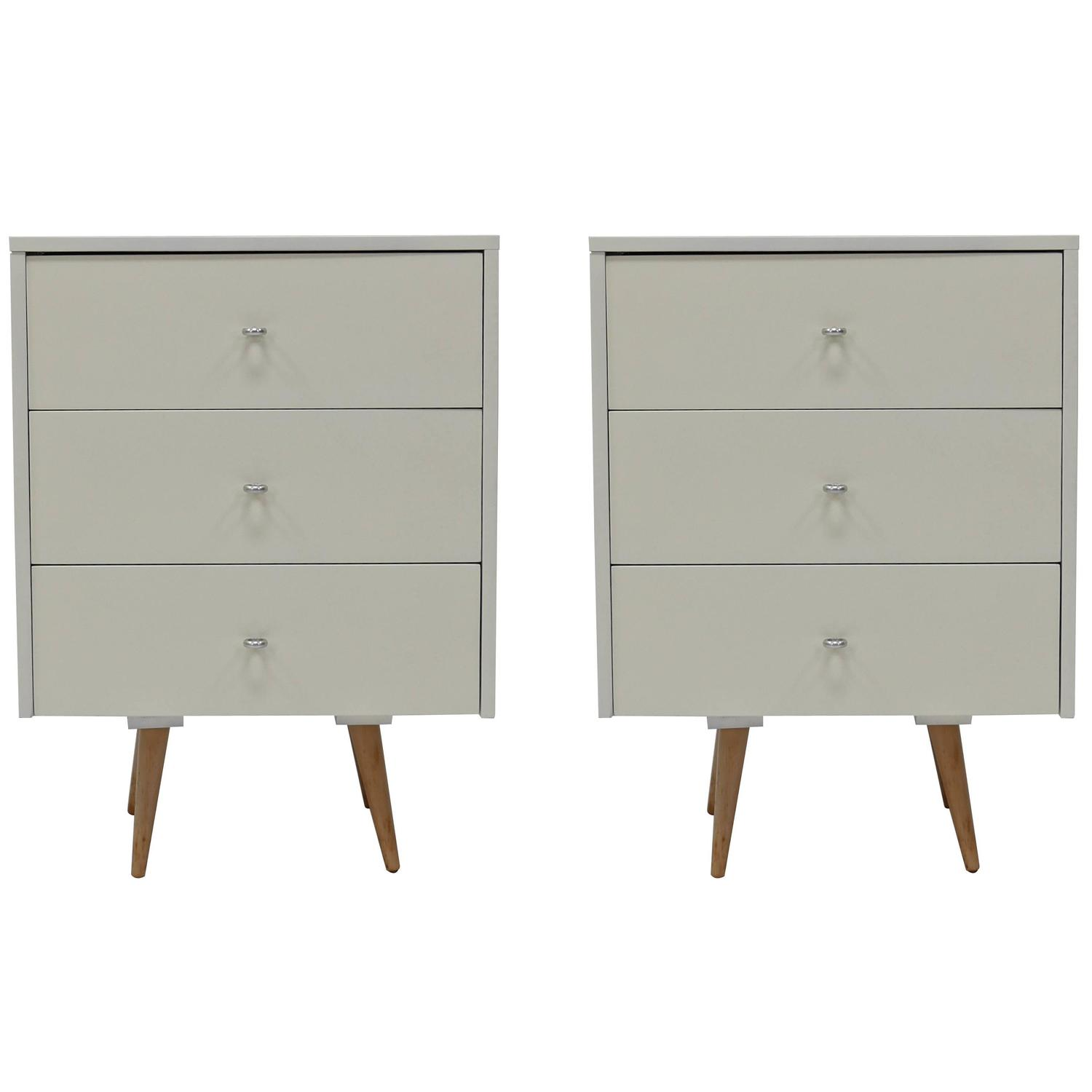pair of nightstands in white lacquer by paul mccobb for sale at 1stdibs. Black Bedroom Furniture Sets. Home Design Ideas