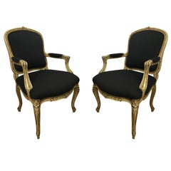 Pair of Louis XVI Style Cream Painted Armchairs of Fauteuils