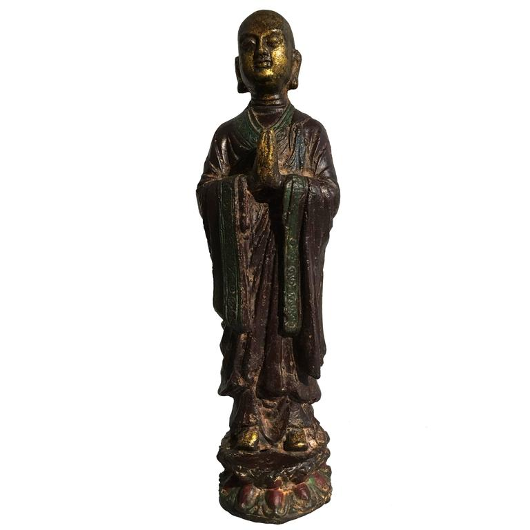 Ming Dynasty Polychrome Lacquer and Gilt Iron Figure of Ananda For Sale