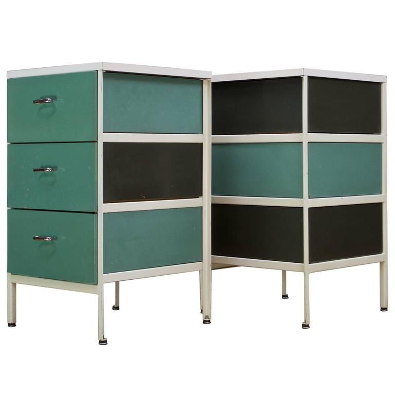 Aqua Green Steel Frame Nightstand Bedside Tables George Nelson Herman Miller
