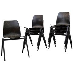 Set of Eight Jean Prouve Inspired Industrial Stacking Chairs