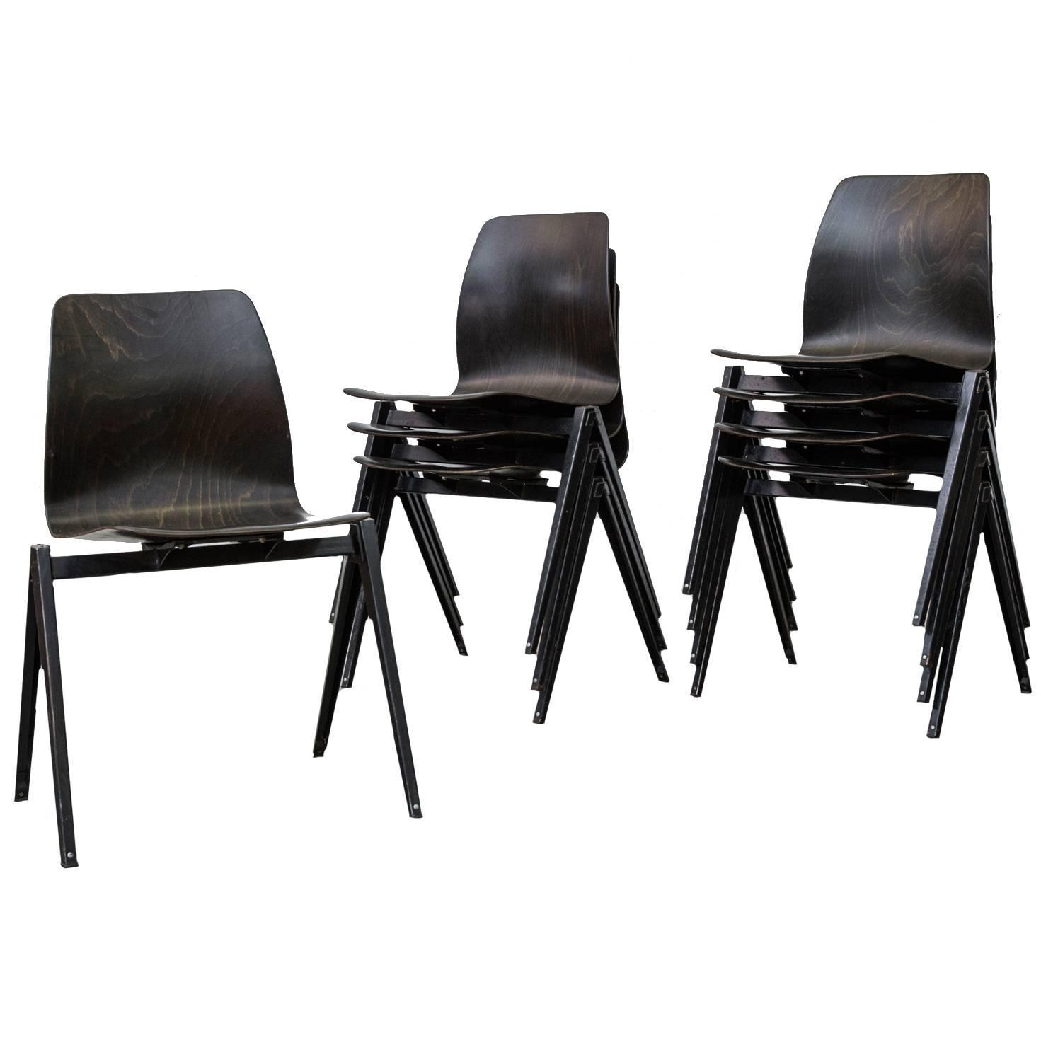 Set of Eight Jean Prouve Inspired Industrial Stacking Chairs at