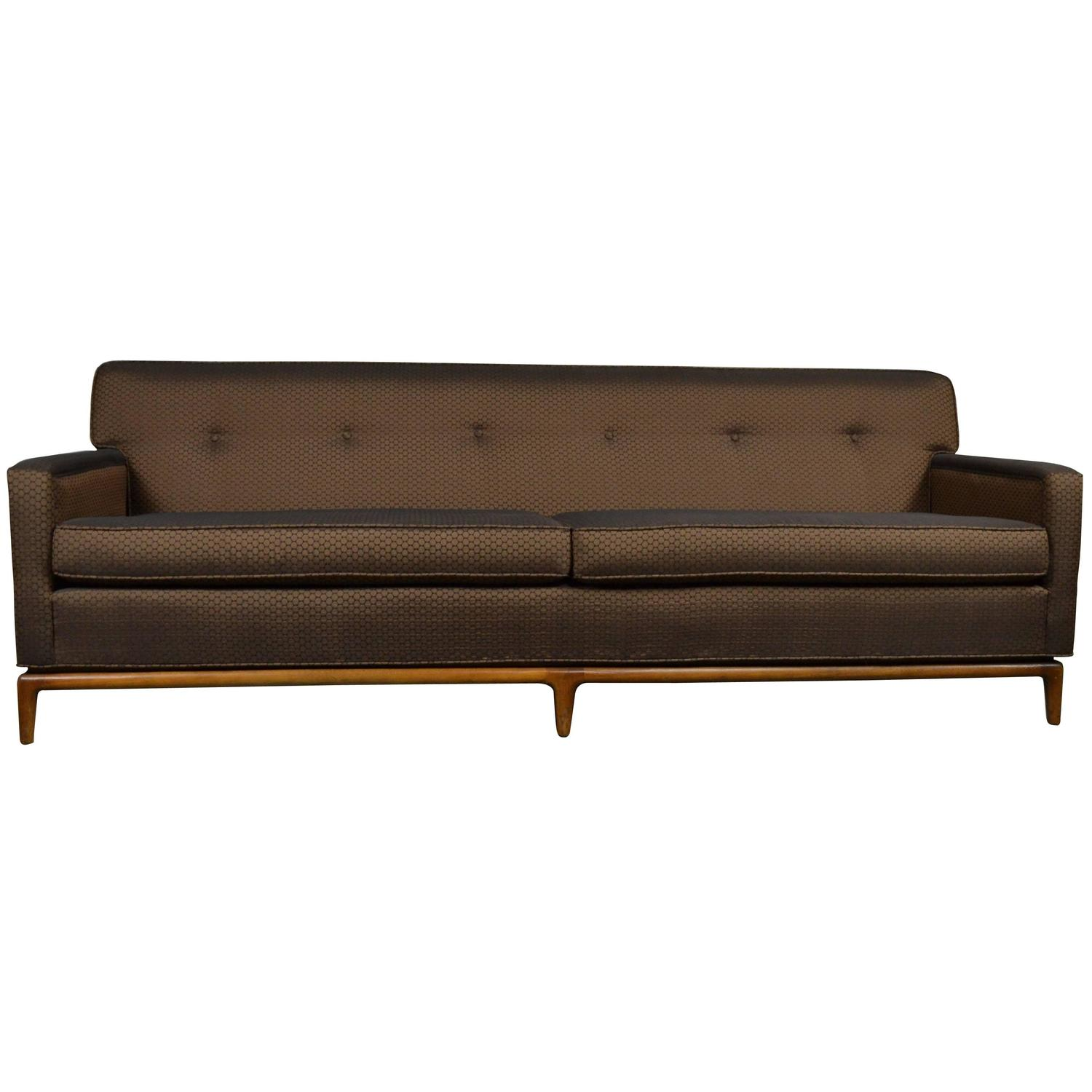Pink Blush Velvet Mid Century Modern Sofa with Tufted Back at 1stdibs
