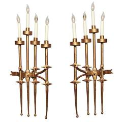 Pair of Brutalist 1960s Gilt Metal Wall Sconces