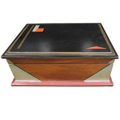Rare Art Deco Box, Hand-Painted, Gold Accents