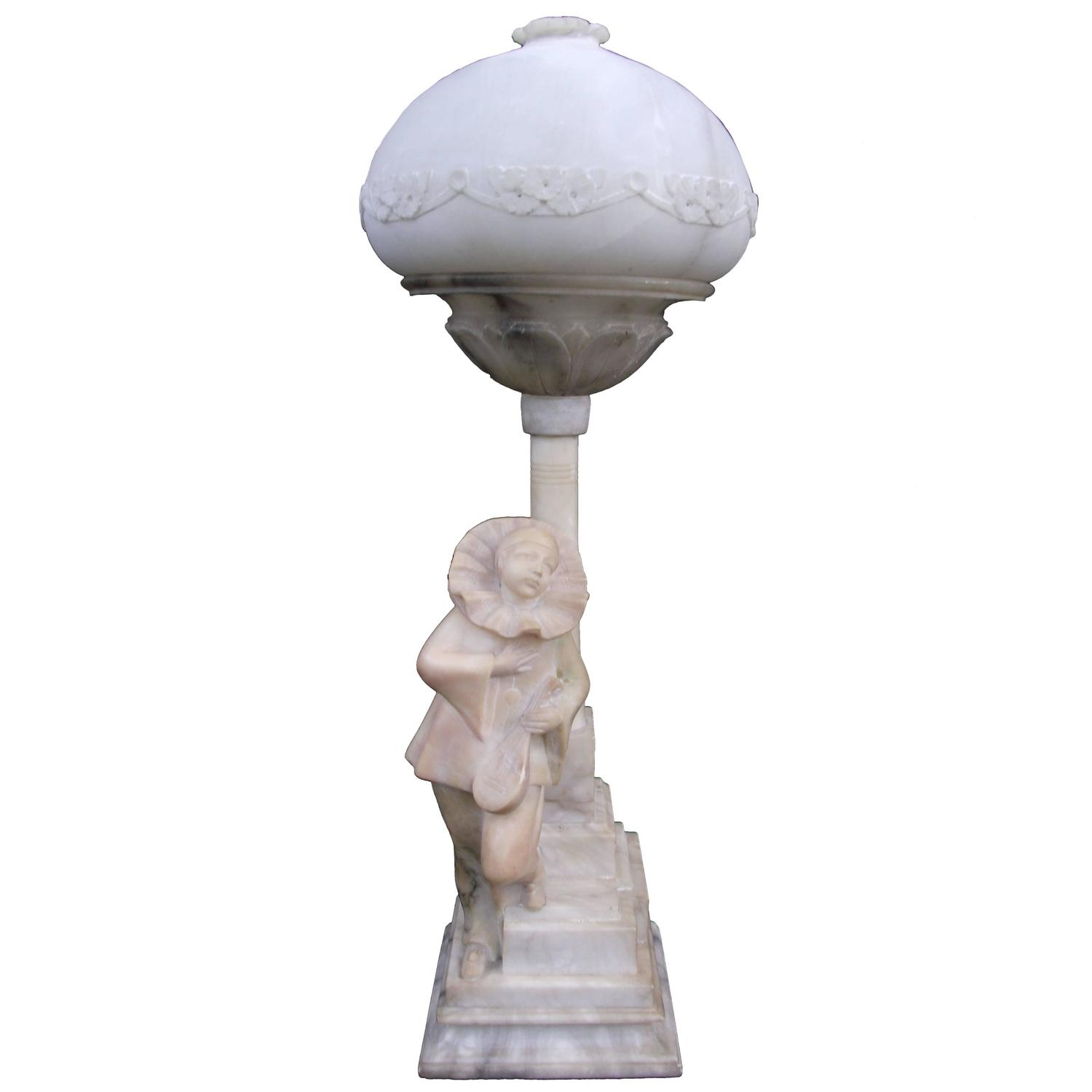 Alabaster Pierrot Clown Lamp Signed Hand Carved