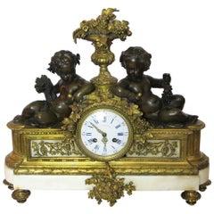 Monumental French Gilt Bronze on Marble Base Mantle Clock
