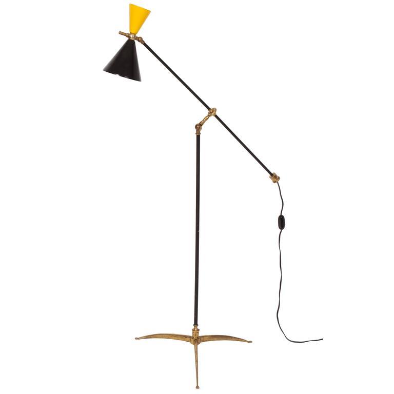 Italian 1950 Articulated Standing Floor Lamp Yellow Black Brass Mid Century