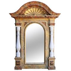 19th Century Italian Gilt and Faux Marble Mirrored Niche
