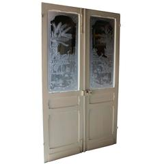 Pair of Antique French Etched Glass Doors