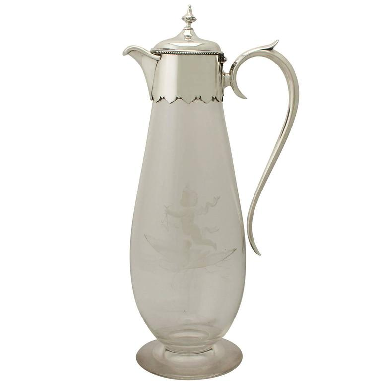 Glass and Sterling Silver-Mounted Claret Jug, Antique Victorian