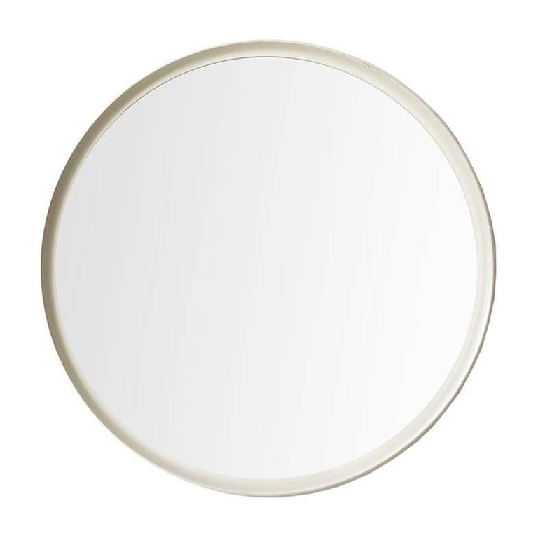 White Lacquered Round Mirror Produced in Sweden