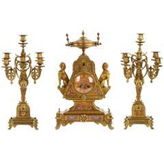 Rare Egyptian Revival Bronze Mantel Clock and Candelabra, Leroy & Fils