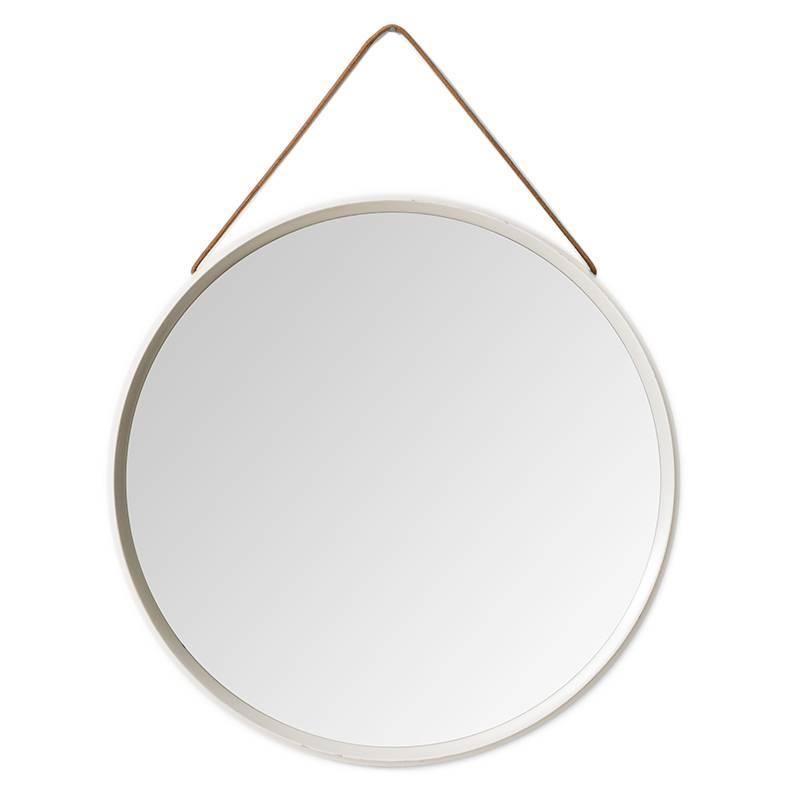 White lacquered round mirror with leather strap for sale for White round wall mirror