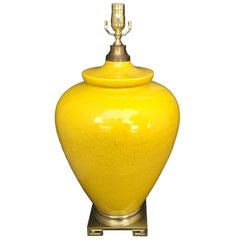 Yellow Mid-20th Century Pottery Lamp