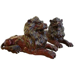 Pair of Early 20th Century Glazed Stoneware Hand Formed Lions