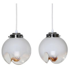 Pair of Mazzega White, Clear and Orange Glass Pendants, Circa 1970s