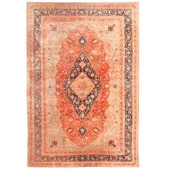Large Antique Persian Mohtashem Kashan Rug