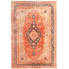 Large Antique Persian Mohtashem Kashan Rug