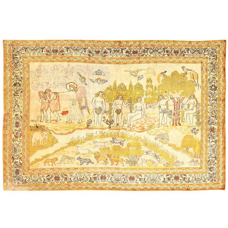 Antique Biblical Scene Silk Turkish Rug