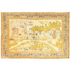 Antique Biblical Scene Silk Turkish Rug