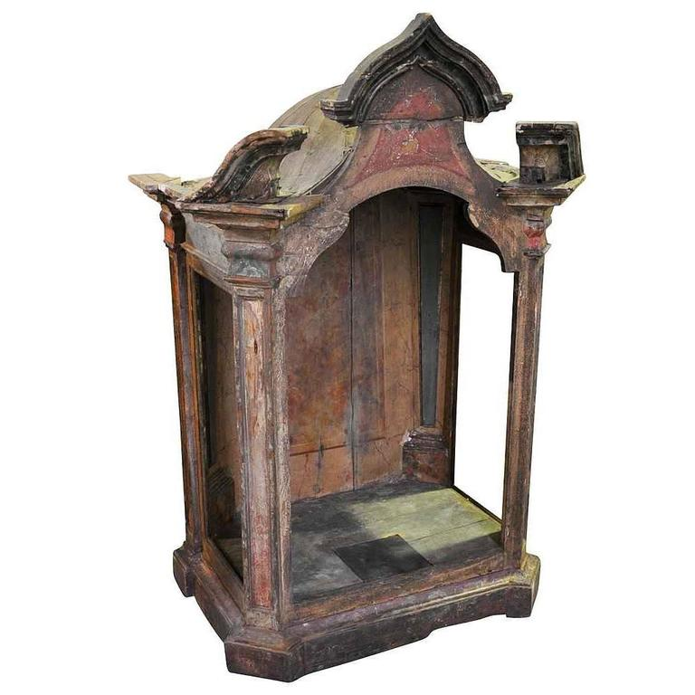 18th Century Spanish Polychromed Tabernacle, Niche For Sale
