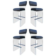 "Set of Four ""Waterfall"" Bar Stools by Charles Hollis Jones"